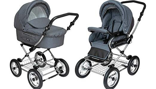 Roan Kortina Classic 2-in-1 Pram Stroller with Bassinet for Newborn Baby and Toddler Reclining Seat with Five Point Safety System UV Proof Canopy and Storage Basket (Smokey Grey with Dots) Review