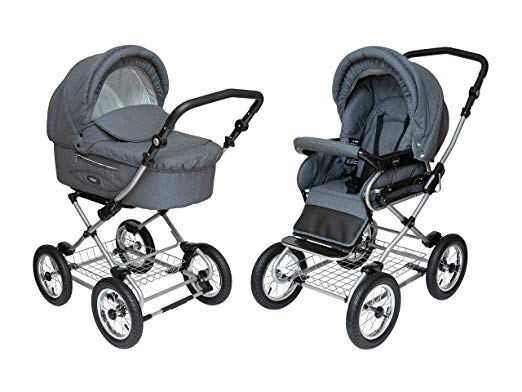 Roan Kortina Classic 2-in-1 Pram Stroller with Bassinet for Newborn Baby and Toddler Reclining Seat with Five Point Safety System UV Proof Canopy and Storage Basket (Smokey Grey with Dots)