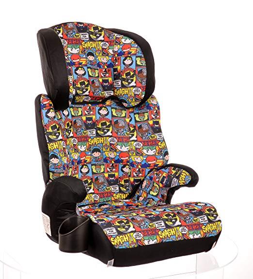 KidsEmbrace Justice League Car Seat Booster, DC Comics Chibi High Back Seat, Removable Back, Black