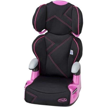 Evenflo Big Kid Amp Booster Car Seat, Pink Angles Positioned at Six Different Heights for a Correct Fit