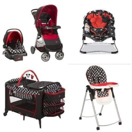 Mickey Mouse Nursery Set Baby Gear Bundle Collection, Travel System, Play Yard, High Chair, Bouncer (Mickey) by Disney
