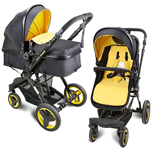 Infant Toddler Baby Stroller Newborn Baby Carriage Folding Pram Stroller Luxury Pushchair Stroller High Landscape (yellow)