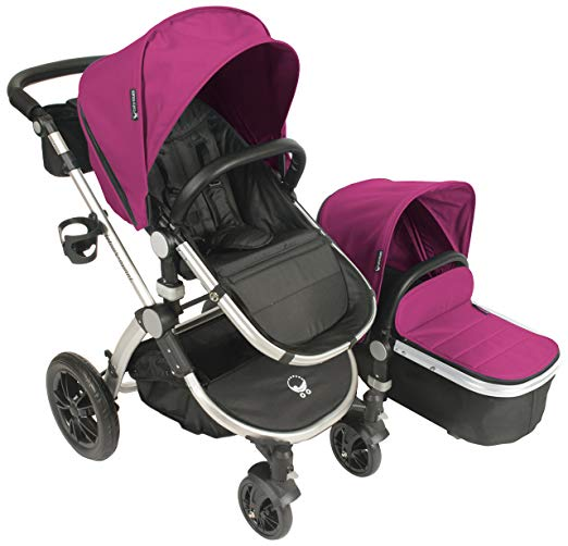 Babyroues Letour Avant Canvas Stroller - Bloom Pink/Silver